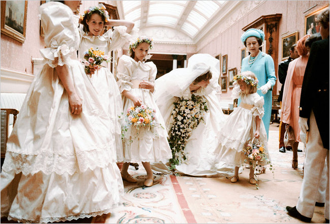 India Hicks, second bridesmaid from left with Princess Diana and Queen Elizabeth on Diana's wedding day in July 1981.