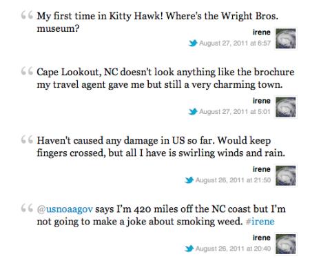 hurricane irene twitter