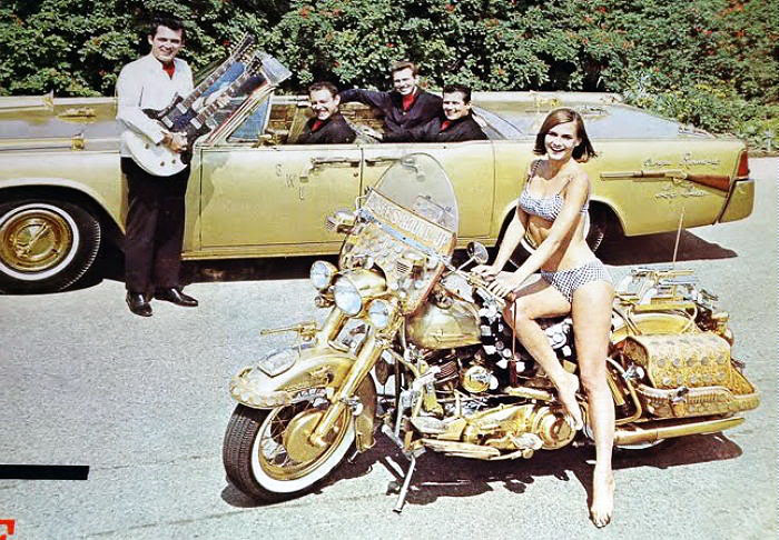 gold motorcycle bandstand